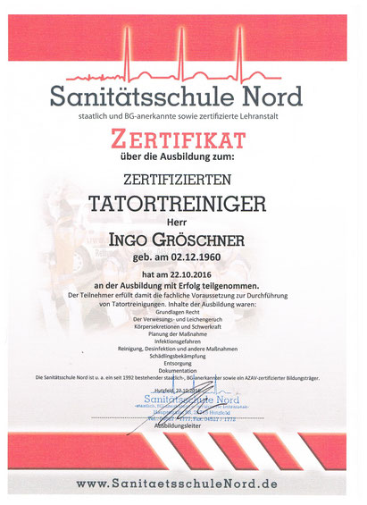 Zertifizierter Tatortreiniger